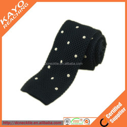 black with white dots pure silk knitted tie