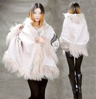 CX-B-P-01E Fashion Mongolian Lamb Trimmed Fur Stole