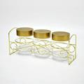 Decorativa de ouro tampa transparente vasilhas de acrílico com Rack de Metal