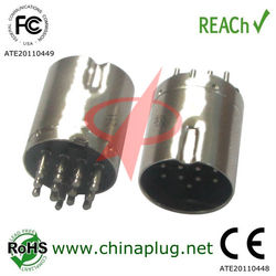 plastic push big din 13 pin male connector