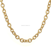 24 Inch 10mm Mens Heavy Stainless Steel Gold Twisted Oval Link Necklace Chain