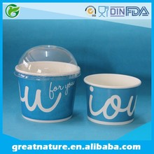 Disposable paper ice cream cup with lid
