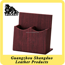 Classical China Red Wood Gain Leather Double Control Rack