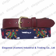 Hot selling Needlepoint Belts With A Fashion Dragon for Men