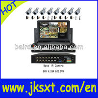 rohs h.264 8ch dvr with lcd monitor & Free CMS Software & Remote Mobile Viewing