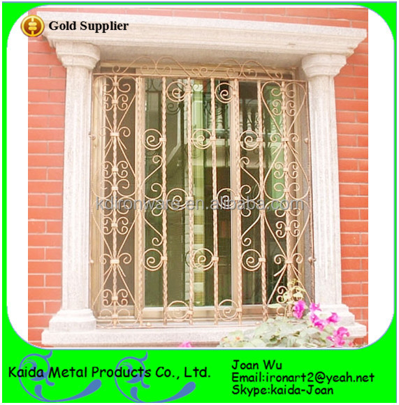 Ornamental interior french wrought iron window grilles with grape leaves buy french window - Decorative window grills ...