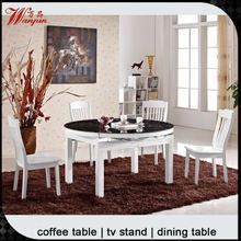 contemporary latest round glass dining table set