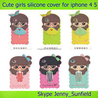 phone case Cute girls 3d silicone cover case for iphone 4 4s ,for iphone 4 case silicone,for iphone case 4s 5s 6 plus