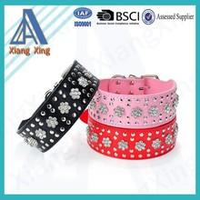 Wholesale high quality rhinestone flower PU dog collar with crystal