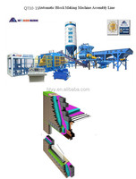 QT10-15G Full complete block production line light-weight bricks melangeur full automatic concrete brick making machine beton v