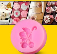 lovely small baby carriage shape silicone fondant mold