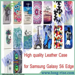 New Coming Cross Texture Wallet Flip Leather Case for Samsung Galaxy S6 Edge G9250 Case with Card Slot