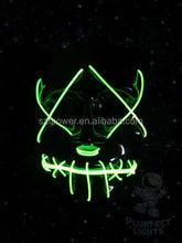 Zipper Face Light Up El Wire Neon GREEN Glow Mask! Rave Halloween Mask! Rare!