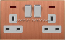 Double British 13A standard Square socket switch with neon