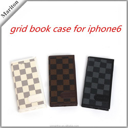 Luxury Grid texture leather case for iPhone6,pu leather flip book style leather case with card dual-slot