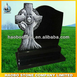 Shanxi Black Headstone for Grave with tree design