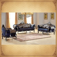 Gilt Wood Frame Purple Upholstering Sofa 1+2+3 Chinese Cheap Antique Furniture