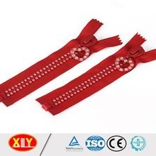 red color diamond zip double stone zipper open end no.10 diamond zipper