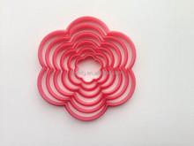 6pcs plastic flower shaped cookie cutter