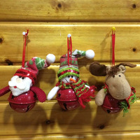 wholesale hanging christmas ornaments santa snowman deer with decorative jingle bell