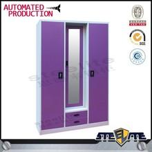 3 door steel bedroom wardrobe design with mirror/ dressing cupboard