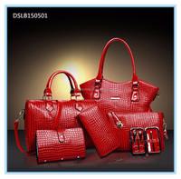 New arrival crocodile 6pcs sets patent leather lady shoulder handbag