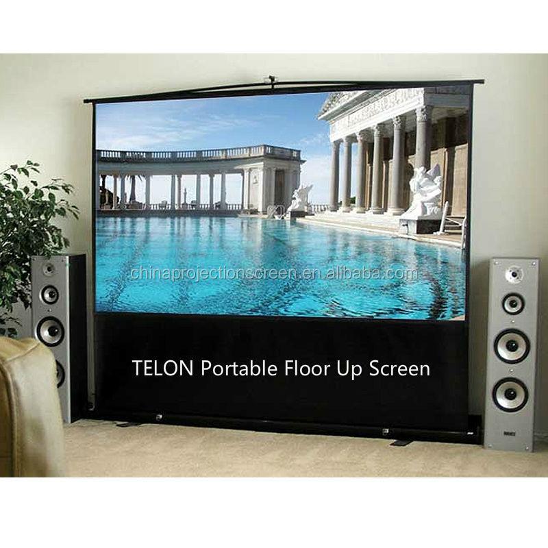 Telon china manufacturer portable floor standing for Motorized floor up screen
