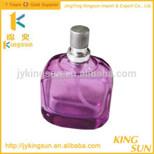 Fancy violet empty glass bottles for perfume with aluminum sprayer