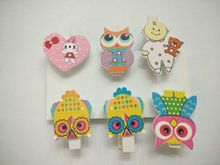 In stock Wholesale 2015 new HOT 6 pcs/bag multicolor print lovely DIY Cartoon animals wooden clips