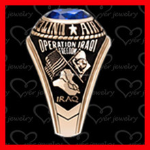 fashion stainless steel military ring setting with CZ stone