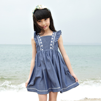 high quality embroidery children kids dress for 2016 summer