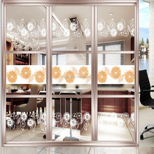 Glass Partition With Orang Pictures For Kitchen