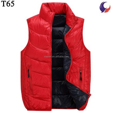 High quality mens sleeveless goose feather warm red winter vest without hoodT65