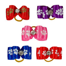 Wholesale Cheap Dog bows with rubber band hair bows for dogs