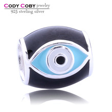 New Design 925 Sterling Silver Evil Eye Charms beads with Black and Light Enamel Pendant Charm for Bracelet Necklace Wholesale