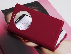 New Product Circular View Window Intelligent Case Cover Flip Folio PU Leather Cover Case for LG G3