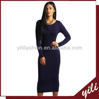 Black bodycon long sleeve maxi dress