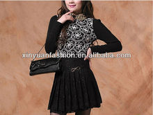 2015 new arrival Fashion chiffon short black frilly lace skirts pictures of mature women with short skirts