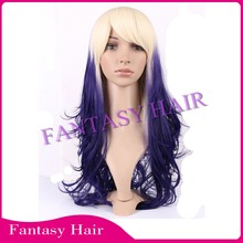 korean fiber good price long curly wigs ombre synthetic wigs ombre crazy color wigs