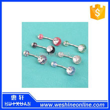 316L surgical steel eyebrow ring belly navel lips twist ring crystal ball body piercing jewelry