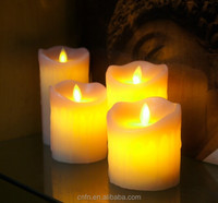 Battery operated luminara candle, flickering flame flameless moving wick led candle