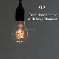 Antique Carbon Filament Edison bulb A60 A19 220v e27