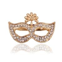 Professional Yiwu Factory Wholesale Rhinestone Crystal Brooch,Shape of Mask Brooch Pin