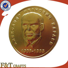 Customized fake gold double coins with great man's head portrait