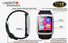 U18 Bluetooth internet watch phone with GPS Wifi Internet Function for IOS Android