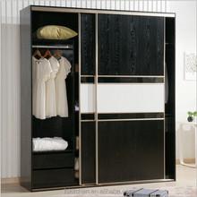 Black & White Sliding Door Wood Wardrobe