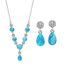 Neoglory Turquoise Fashion Gold Plated Wedding African Precious Metal Jewelry Sets for Women Vintage Retro Wholesale