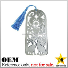 Fashion novelty cheap silver metal custom bookmark wedding favor