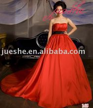 Stunning Real Sample Empire Waist Red Satin Wedding Dresses For Sale