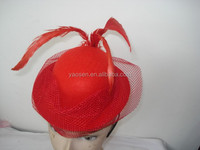 red mini feather bowler hat with veil for ladies